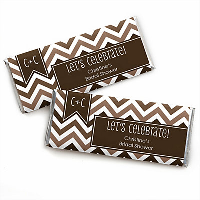 Chevron Brown - Personalized Bridal Shower Candy Bar Wrapper...