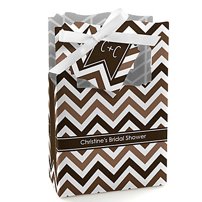 Chevron Brown - Personalized Bridal Shower Favor Boxes...