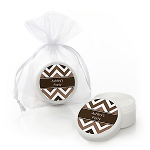 Brown Chevron - Lip Balm Personalized Baby Shower Favors