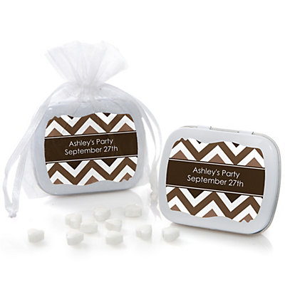 Brown Chevron - Mint Tin Personalized Baby Shower Favors...