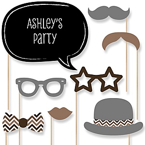 Brown Chevron - Baby Shower Photo Booth Props Kit - 20 Props