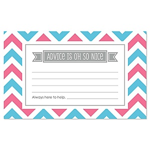 Gender Reveal Chevron - Baby Shower Helpful Hint Advice Cards Game - 18 Count