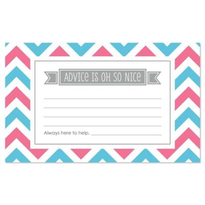 chevron gender reveal baby shower advice cards 18 ct - Gender Reveal Baby Shower