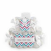 Gender Reveal Chevron - 2 Tier Personalized Square Baby Shower Diaper Cake