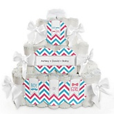 Gender Reveal Chevron - 3 Tier Personalized Square Baby Shower Diaper Cake