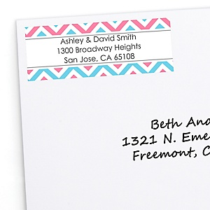 Gender Reveal Chevron - Personalized Baby Shower Return Address Labels - 30 ct
