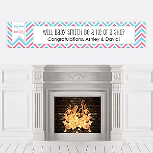Chevron Gender Reveal - Personalized Party Banners