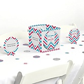 Chevron Gender Reveal - Baby Shower Centerpiece & Table Decoration Kit