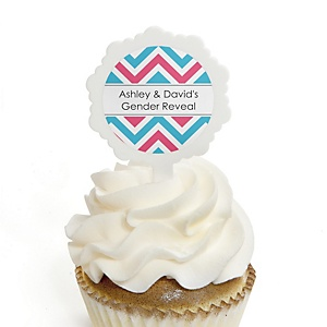Gender Reveal Chevron - 12 Cupcake Picks & 24 Personalized Stickers - Baby Shower Cupcake Toppers