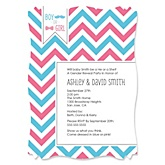 Chevron Gender Reveal - Personalized Party Invitations