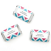 Gender Reveal Chevron - Personalized Baby Shower Mini Candy Bar Wrapper Favors - 20 ct