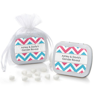 Gender Reveal Chevron - Mint Tin Personalized Baby Shower Fa...
