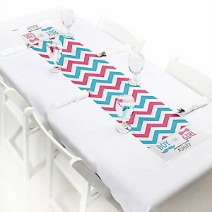 Chevron Gender Reveal - Personalized Party Petite Table Runner