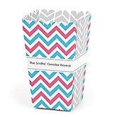 Chevron Gender Reveal - Personalized Baby Shower Popcorn Boxes