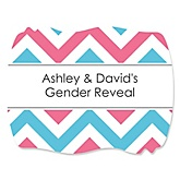 Gender Reveal Chevron - Personalized Baby Shower Squiggle Sticker Labels - 16 Count