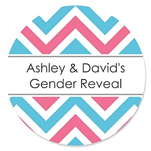 Gender Reveal Chevron - Personalized Baby Shower Round Sticker Labels - 24 Count