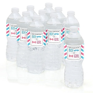 Gender Reveal Chevron - Baby Shower Personalized Water Bottle Sticker Labels - 10 Count