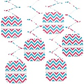Gender Reveal Chevron - Baby Shower Hanging Decorations - 6 Count