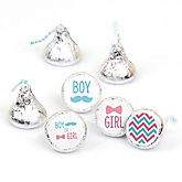 Gender Reveal Chevron - Round Candy Labels Baby Shower Favors - Fits Hershey's Kisses - 108 Count