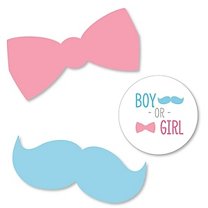 Gender Reveal Chevron - Shaped Baby Shower Paper Cut-Outs - 24 ct