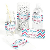 Gender Reveal Chevron - Do It Yourself Baby Shower Wrappers - 15 Count