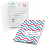 Chevron Gender Reveal - Fill In Baby Shower Invitations - Set of  8