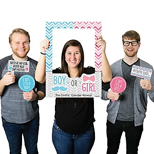 Chevron Gender Reveal - Personalized Baby Shower Photo Booth Picture Frame & Props - Printed on Sturdy Plastic Material