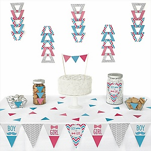 Chevron Gender Reveal - Baby Shower Triangle Decoration Kits - 72 Count