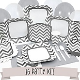 Gray Chevron - 16 Person Baby Shower Kit