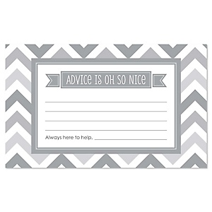 Gray Chevron - Baby Shower Helpful Hint Advice Cards Game - 18 Count