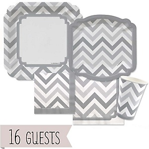Gray Chevron - Baby Shower Tableware Bundle for 16 Guests