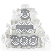 Gray Chevron - 3 Tier Personalized Square Baby Shower Diaper Cake