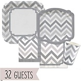 Gray Chevron - Baby Shower Tableware Bundle for 32 Guests