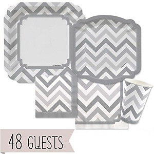 Gray Chevron - Baby Shower Tableware Bundle for 48 Guests