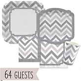 Gray Chevron - Baby Shower Tableware Bundle for 64 Guests