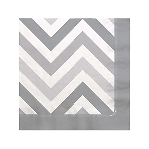 Chevron Gray - Baby Shower Beverage Napkins - 16 ct