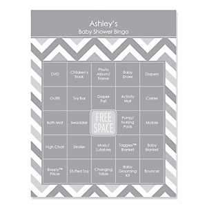 Gray Chevron - Bingo Personalized Baby Shower Games - 16 Count