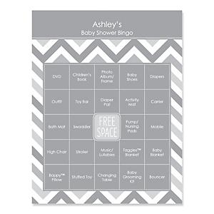 Gray Chevron - Bingo Personalized Baby Shower Games - 16 Count