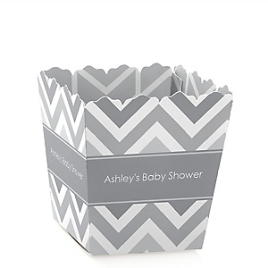 Gray Chevron - Personalized Baby Shower Candy Boxes
