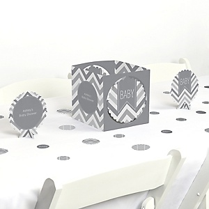 Chevron Gray - Baby Shower Centerpiece & Table Decoration Kit