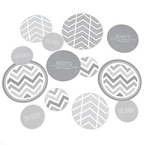 Chevron Gray - Personalized Baby Shower Table Confetti - 27 ct