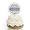 Chevron Gray - Personalized Baby Shower Cupcake Picks and Sticker Kit - 12 ct