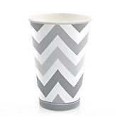 Gray Chevron - Baby Shower Hot/Cold Cups - 8 Pack