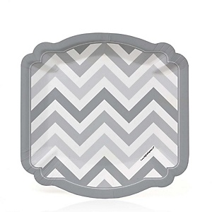 Gray Chevron - Baby Shower Dessert Plates - 8 Pack