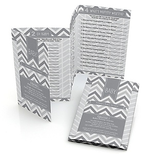 Gray Chevron - Fabulous 5 Personalized Baby Shower Games