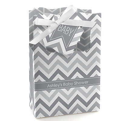 Gray Chevron - Personalized Baby Shower Favor Boxes...