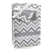 Gray Chevron - Personalized Baby Shower Favor Boxes