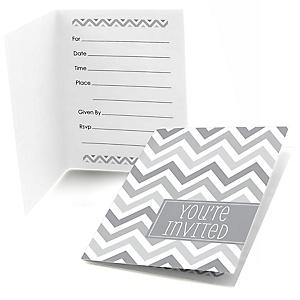 Chevron Gray - Baby Shower Fill In Invitations - 8 ct