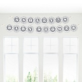 Gray Chevron - Personalized Baby Shower Garland Banner
