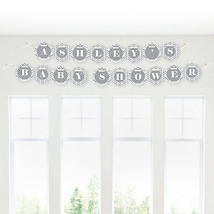 Chevron Gray - Personalized Baby Shower Garland Letter Banners